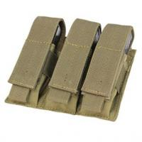 9MM Triple pocket ammo pouch, Velcro flap cover, Coyote